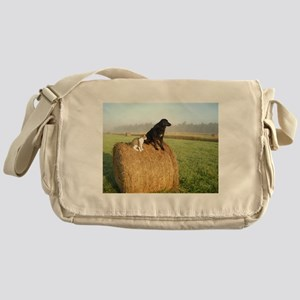 Cat and Dog on Hay Bale Messenger Bag