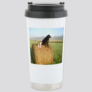 Cat and Dog on Hay Bale Stainless Steel Travel Mug