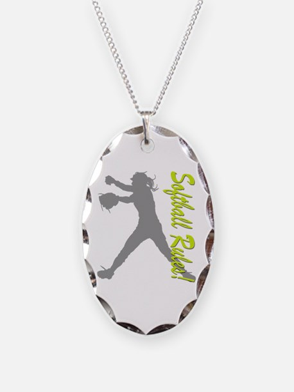 Girls Softball Necklace Oval Charm