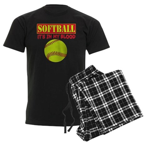 Girls Softball Men's Dark Pajamas
