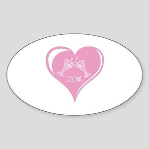 20th Wedding Anniversary Sticker (Oval)