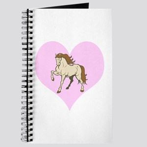 Horse and Pale Pink Heart Journal