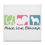 Peace, Love, Elkhounds Tile Coaster