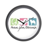 Peace, Love, Elkhounds Wall Clock
