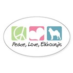 Peace, Love, Elkhounds Sticker (Oval 10 pk)
