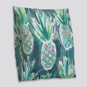 Pineapple Tropical Watercolor Burlap Throw Pillow