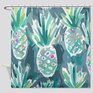 Pineapple Tropical Watercolor Shower Curtain