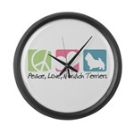 Peace, Love, Norwich Terriers Large Wall Clock