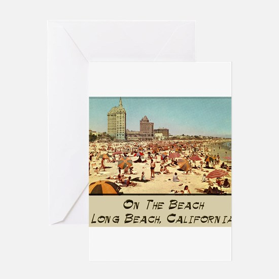 On The Beach Long Beach Greeting Card