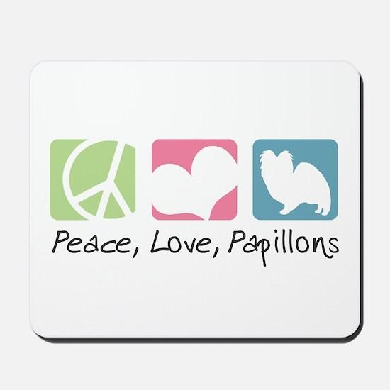 Peace, Love, Papillons Mousepad