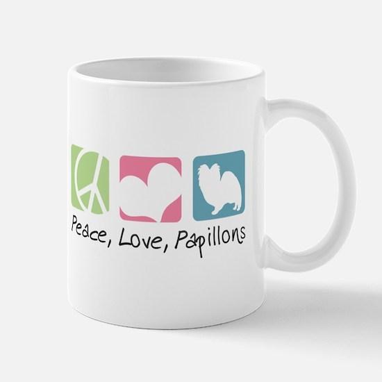 Peace, Love, Papillons Mug