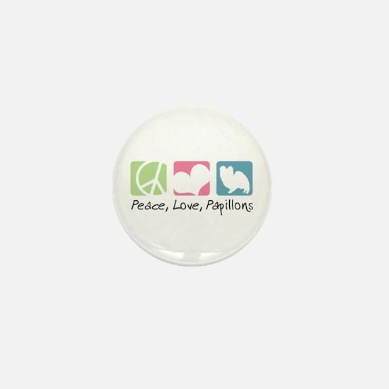 Peace, Love, Papillons Mini Button