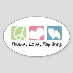 Peace, Love, Papillons Sticker (Oval)
