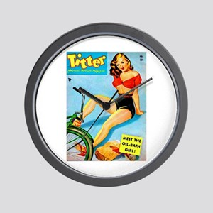 Titter Vintage Pin Up Girl Red Top Wall Clock