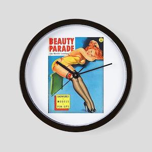 Beauty Parade Pin Up Girl in Yellow Wall Clock