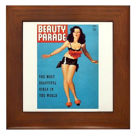 Beauty Parade Vintage Brunette Pin Up Framed Tile