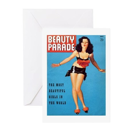 Beauty Parade Vintage Brunette Pin Up Greeting Car