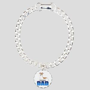 Whippet Dad Charm Bracelet, One Charm