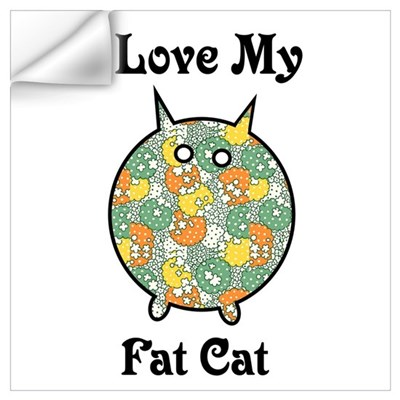 Fat Floral Cat Wall Decal