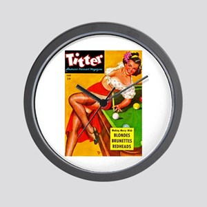 Titter Pool Table Vintage Pin Up Girl Wall Clock