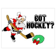 Hockey Santa Canvas Art