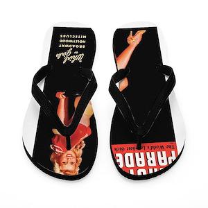 9abbdd9e49b7d9 Vintage Pin Up Flip Flops - CafePress