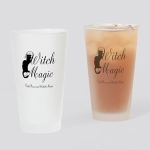 Witch Magic, black cat Drinking Glass