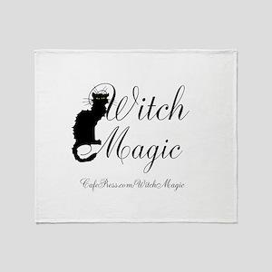 Witch Magic, black cat Throw Blanket
