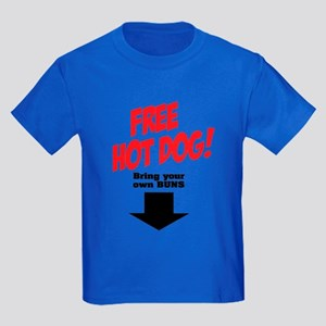 Free hot dog! Kids Dark T-Shirt