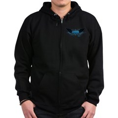 Vegan Blue Wings Zip Hoodie (dark)