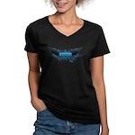 Vegan Blue Wings Women's V-Neck Dark T-Shirt