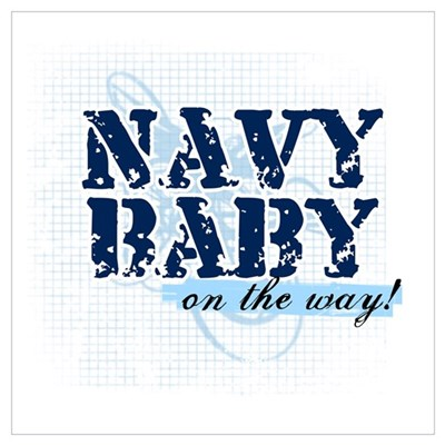 Navy Baby On The Way (v2) Canvas Art