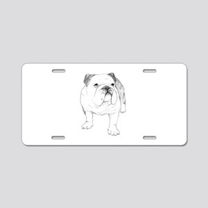 Bulldog Drawing Aluminum License Plate