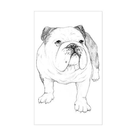 Bulldog Drawing Sticker (Rectangle)
