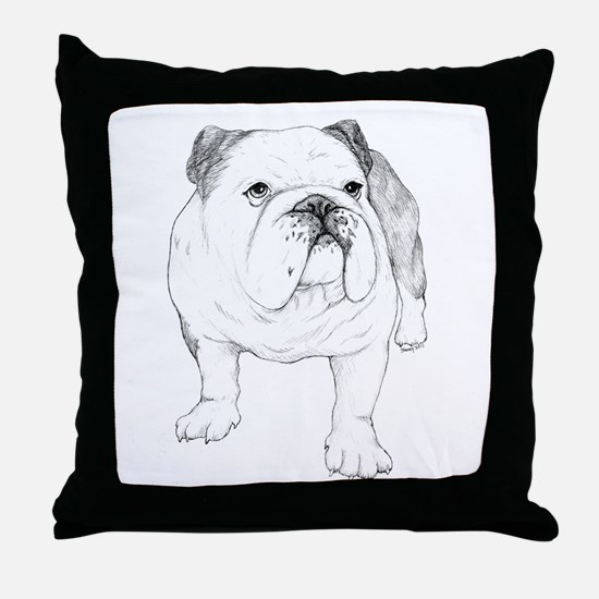 Bulldog Drawing Throw Pillow