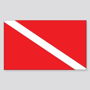 SCUBA DIVE FLAG Rectangle Sticker