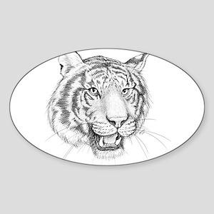 Tiger Art Sticker (Oval)