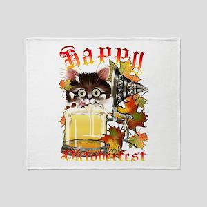 Happy Oktoberfest Beer Kitty Throw Blanket
