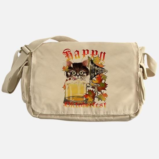 Happy Oktoberfest Beer Kitty Messenger Bag