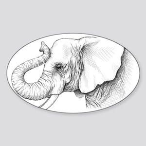 Elephant profile drawing Sticker (Oval)