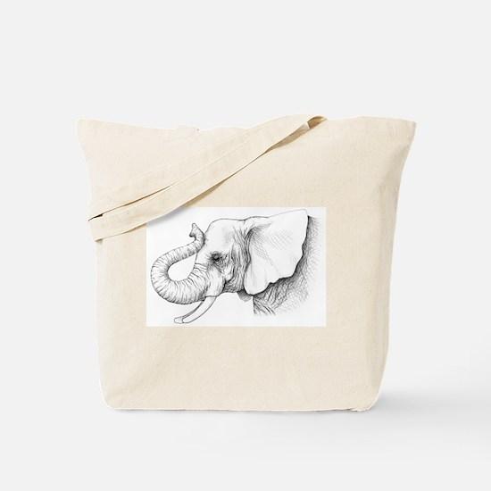 Elephant profile drawing Tote Bag