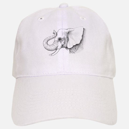 Elephant profile drawing Baseball Baseball Cap
