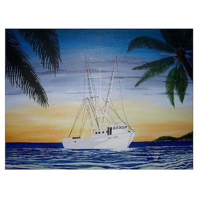 Shrimp Boat in Paradise Poster