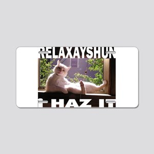 Relaxation Cat Aluminum License Plate
