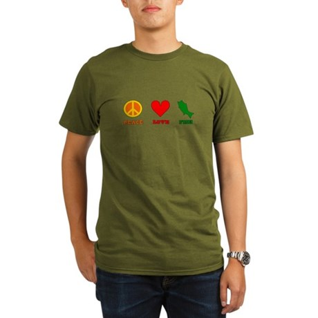 Peace Love Fish Organic Men's T-Shirt (dark)