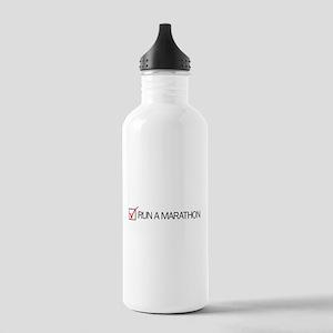 Run a Marathon Check Box Stainless Water Bottle 1.
