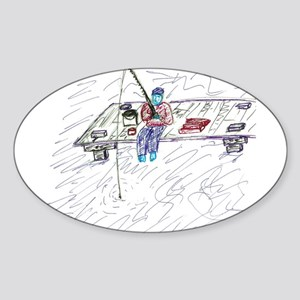 Dock Fishing Oval Sticker