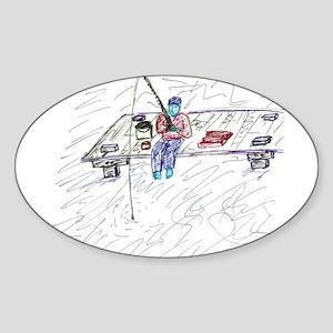 Dock Fishing Oval Sticker