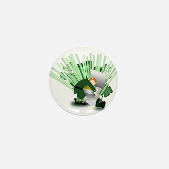 Passed Out Leprechaun Mini Button