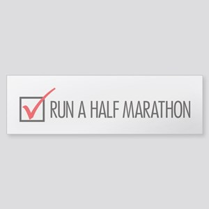 Run a Half Marathon Check Box Sticker (Bumper)
